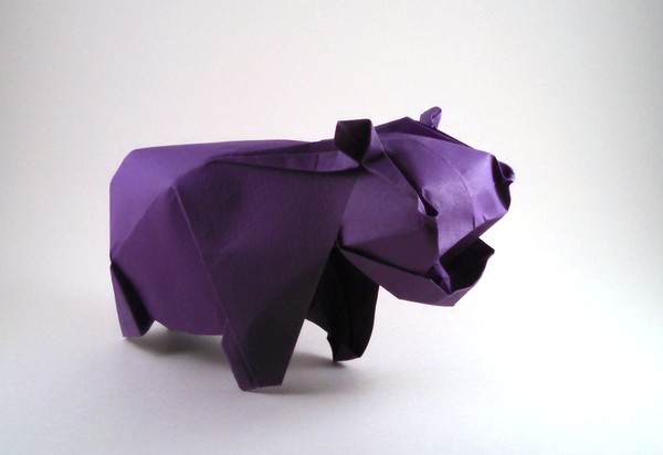 Origami Hippopotamus by Fabian Correa Wet-folded from a square of cardstock by Gilad Aharoni on giladorigami.com