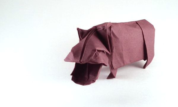 Origami Hippopotamus by John Montroll Wet folded from a square of Canson art paper by Gilad Aharoni on giladorigami.com