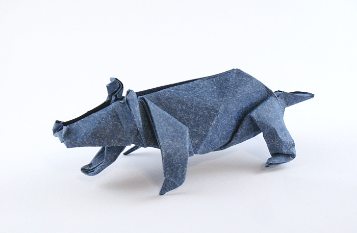 Origami Hippopotamus by Ondrej E. Cibulka Folded from a square of speckle-design paper by Gilad Aharoni on giladorigami.com