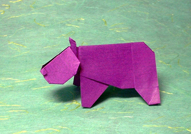 Origami Hippopotamus by Makoto Yamaguchi Folded from 2 squares of origami paper by Gilad Aharoni on giladorigami.com