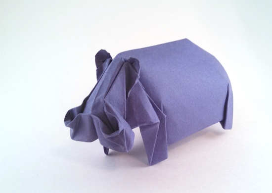 Origami Hippopotamus by Jozsef Zsebe Wet-folded from a square of 160gsm Canson art paper by Gilad Aharoni on giladorigami.com