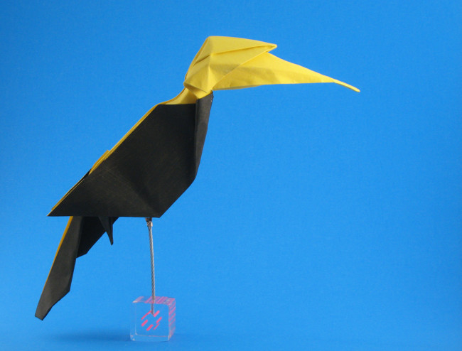 Origami Great hornbill by Nguyen Vo Hien Chuong Folded from a square of watercolor paper by Gilad Aharoni on giladorigami.com