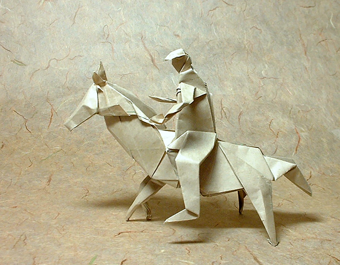 Origami Horseman by David Brill Folded from a rectangle of thin brown wrapping paper by Gilad Aharoni on giladorigami.com