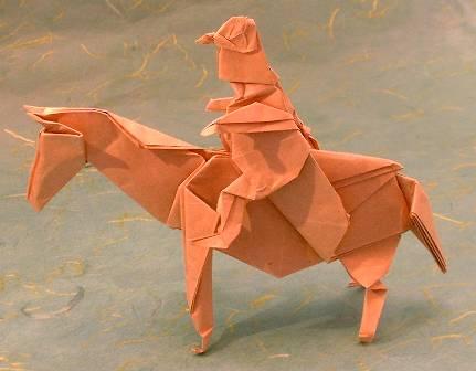 Origami Horse with rider by John Montroll folded by Gilad Aharoni on giladorigami.com
