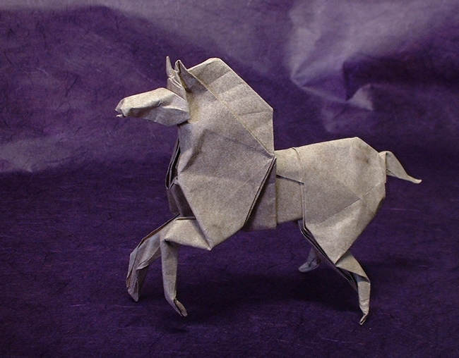 Origami Horse by Roman Diaz Folded from a square of Elephant hide by Gilad Aharoni on giladorigami.com