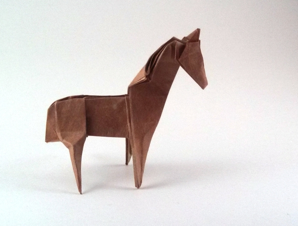Origami Horse by John Montroll Folded from a $-proportioned rectangle of Lokta by Gilad Aharoni on giladorigami.com