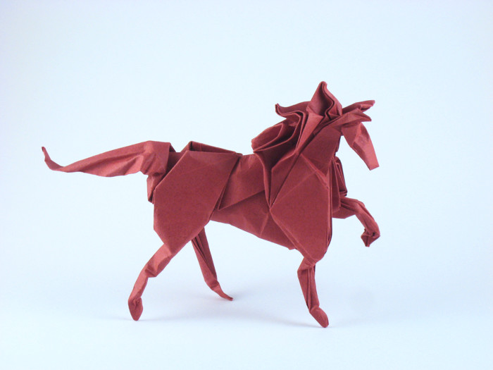 Origami Horse by Nicolas Gajardo Henriquez Wet-folded from a square of art paper by Gilad Aharoni on giladorigami.com
