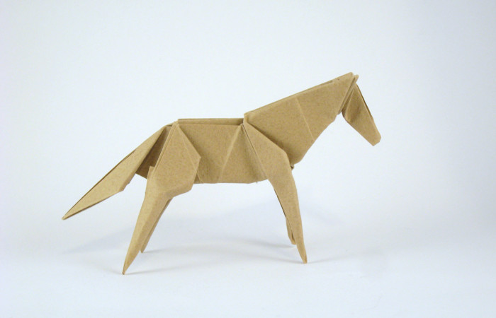 Origami Horse by Jun Maekawa Folded from a rectangle of Trimaco masking paper by Gilad Aharoni on giladorigami.com