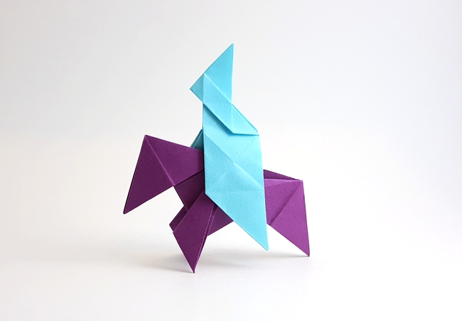 Origami Horse and rider by Carl Adolf Senff folded by Gilad Aharoni on giladorigami.com