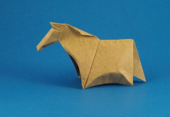 Origami Pony by John Montroll Folded from a square of Elephant-Hide by Gilad Aharoni on giladorigami.com
