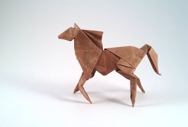 Origami Horse by Davor Vinko Folded from a square of Lokta by Gilad Aharoni on giladorigami.com