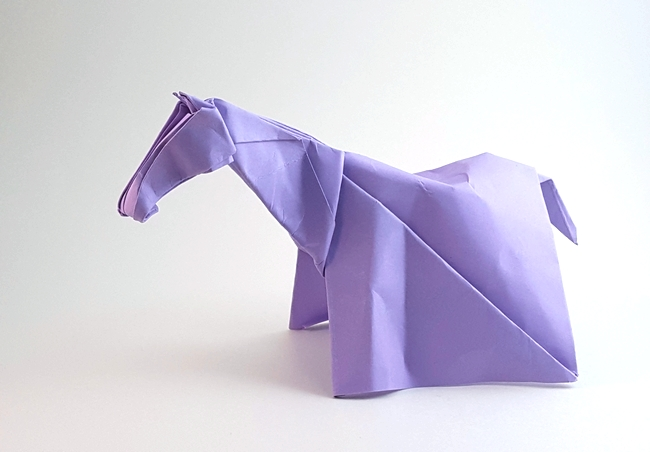 Origami Horse by Jozsef Zsebe Folded from a square of cardstock by Gilad Aharoni on giladorigami.com