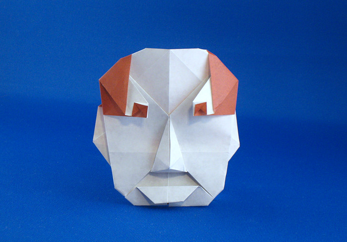 Origami Human face by Nick Robinson Folded from a square of origami paper by Gilad Aharoni on giladorigami.com