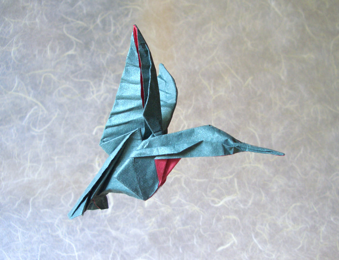 Origami Hummingbird by Michael G. LaFosse Wet-folded from a square of Origamido Hummingbird paper by Gilad Aharoni on giladorigami.com