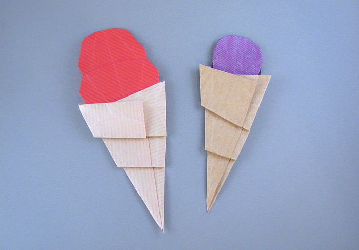Origami Single-scoop ice-cream cone by Peter Engel Each folded from a square of Kraft origami paper by Gilad Aharoni on giladorigami.com