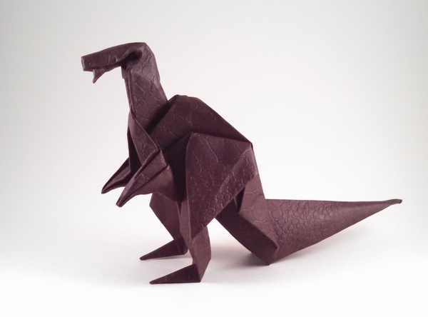 Origami Iguanodon by Akira Yoshizawa Folded from a square of reptile dark brown scrapbooking paper by Gilad Aharoni on giladorigami.com