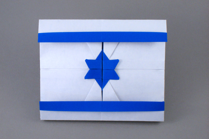 Origami Flag of Israel by Jason Ku Folded from a square of origami paper by Gilad Aharoni on giladorigami.com