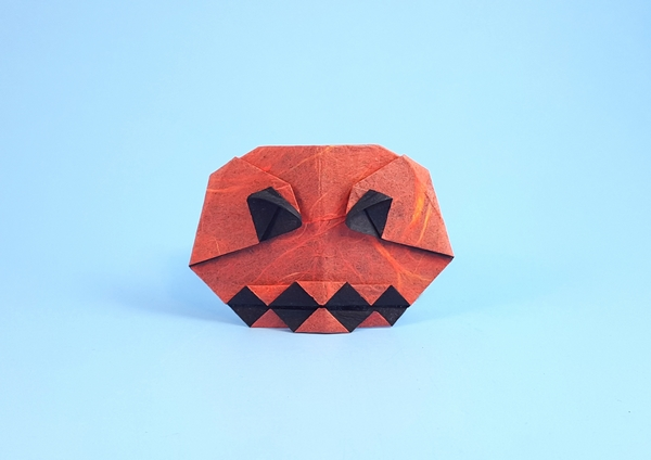 Origami Jack-O-Lantern by Christophe Boudias Folded from a square of double-sided Unryu paper by Gilad Aharoni on giladorigami.com