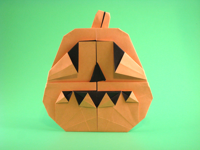 Origami Jack-O-Lantern by Marc Kirschenbaum Folded from a square of duo origami paper by Gilad Aharoni on giladorigami.com