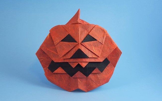 Origami Jack-O-Lantern by Seiji Nishikawa Folded from a square of double-sided Unryu paper by Gilad Aharoni on giladorigami.com