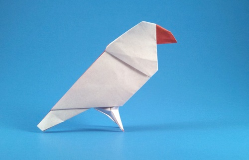 Origami Java sparrow by Makoto Yamaguchi Folded from a square of origami paper by Gilad Aharoni on giladorigami.com