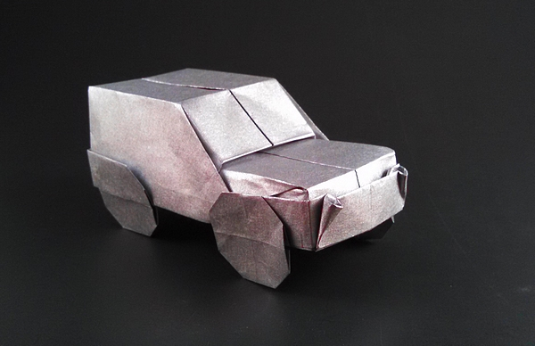 Origami Jeep by Stefan Delecat Folded from a square of Nicolas Terry's tissue-foil by Gilad Aharoni on giladorigami.com