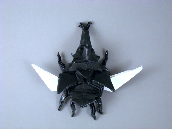 Origami Samurai helmet beetle - winged by Jun Maekawa folded by Gilad Aharoni on giladorigami.com