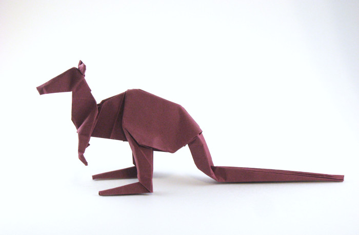 Origami Kangaroo by Steven Casey Folded from a square of Tant paper by Gilad Aharoni on giladorigami.com