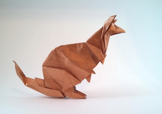 Origami Kangaroo by Patricia Crawford folded by Gilad Aharoni