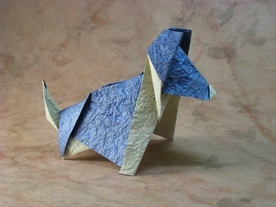 Origami Kanji the dog by Richard L. Alexander folded by Gilad Aharoni