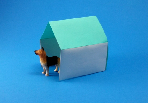 Origami Kennel by Jun Maekawa Folded from a square of origami paper by Gilad Aharoni on giladorigami.com