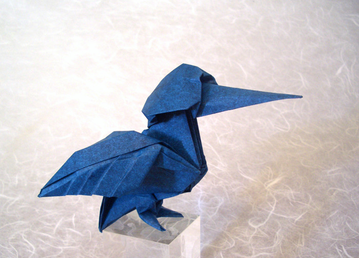 Origami Kingfisher by Lionel Albertino Wet-folded from a square of Elephant-hide by Gilad Aharoni on giladorigami.com
