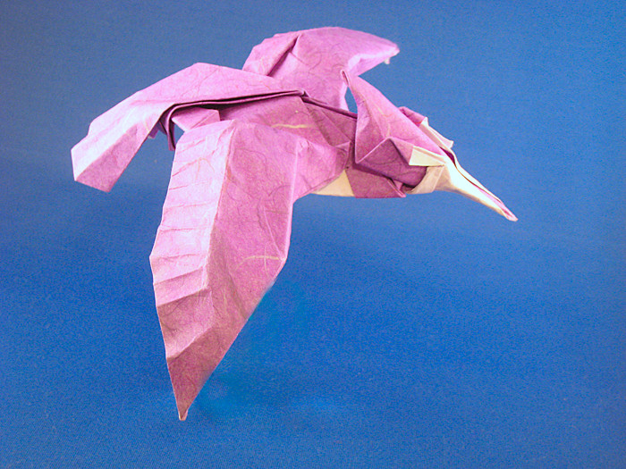 Origami Kingfisher by Roman Diaz Wet-folded from a square of double-sided mulberry paper by Gilad Aharoni on giladorigami.com