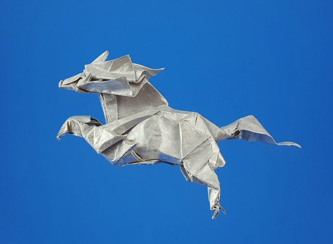 Origami Kirin - Eastern unicorn by Satoshi Kamiya folded by Gilad Aharoni on www.giladorigami.com