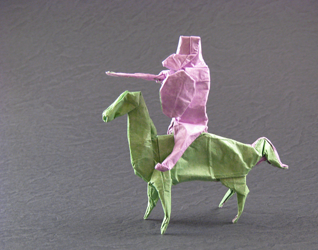 Origami Knight on horseback by Peter Engel Folded from a square of Kathy Stevick's tissue-foil by Gilad Aharoni on giladorigami.com