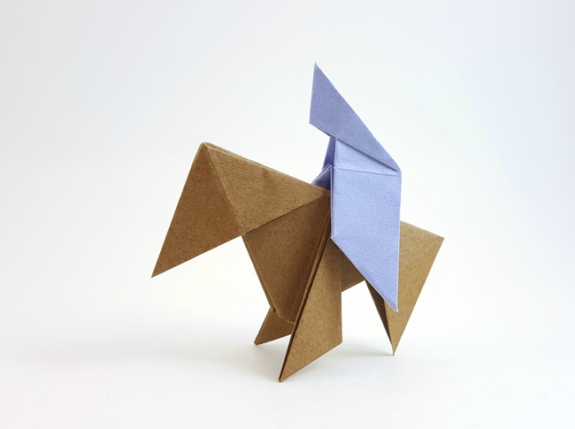 Origami Horse by Traditional Each folded from a square of Tant paper by Gilad Aharoni on www.giladorigami.com
