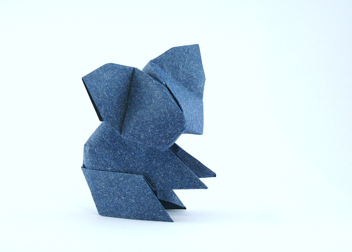 Origami Koala by Edwin Corrie Folded from a square of speckle-design paper by Gilad Aharoni on giladorigami.com