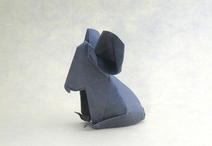 Origami Koala by Jozsef Zsebe Wet-folded from a square of Wyndstone Mica Charcoal paper by Gilad Aharoni on giladorigami.com