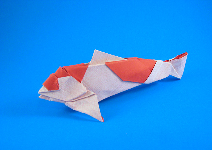 Origami Koi by Miyajima Noboru Folded from a square of Tant paper by Gilad Aharoni on giladorigami.com