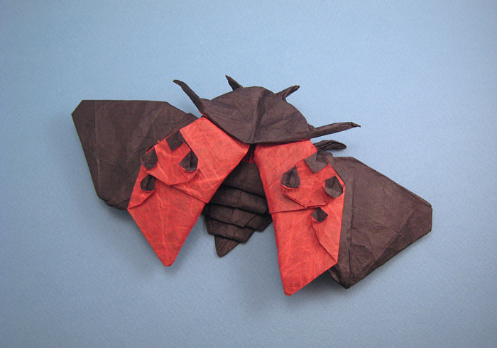 Origami Ladybird beetle - flying by Robert J. Lang Folded from a square of double-sided Unryu paper by Gilad Aharoni on giladorigami.com