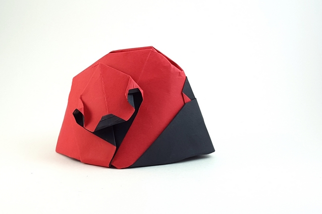 Origami Ladybug by Jozsef Zsebe Folded from a square of cardstock by Gilad Aharoni on giladorigami.com