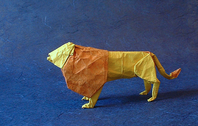 Origami Lion by Lionel Albertino folded by Gilad Aharoni
