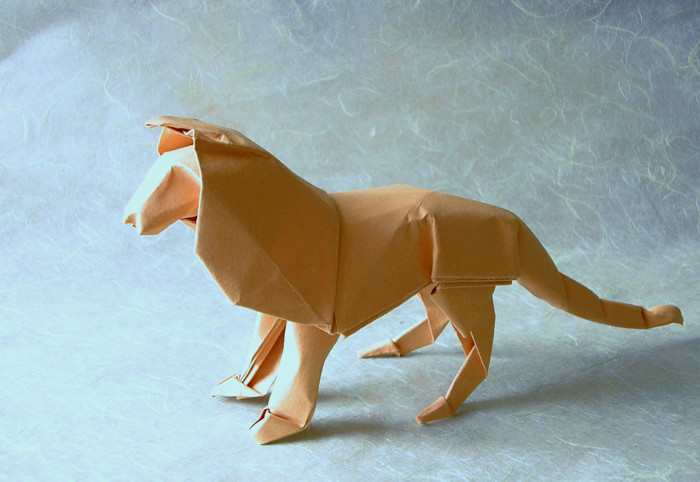 wet folded origami lion by David Brill