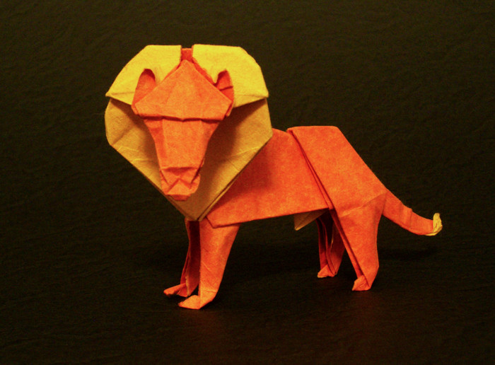 Origami Lion by Herman van Goubergen Folded from a square of tissue-foil by Gilad Aharoni on giladorigami.com