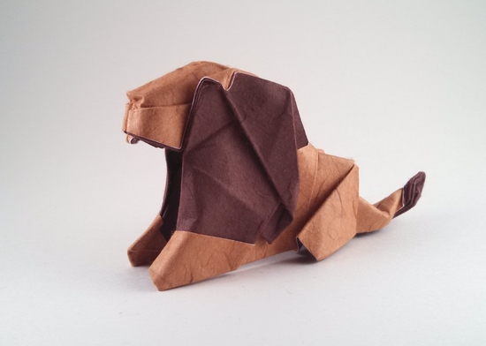 Origami Lion by Gen Hagiwara Folded from a square of double-sided mulberry paper by Gilad Aharoni on giladorigami.com