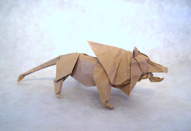 Origami Lion by Fumiaki Kawahata Folded from a square of thin wrapping paper by Gilad Aharoni on giladorigami.com