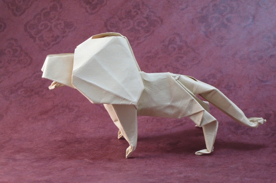 Origami Lion by John Montroll folded by Gilad Aharoni