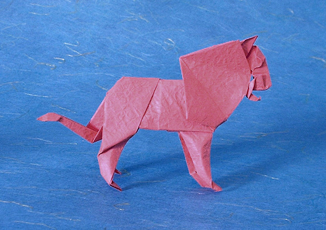 Origami Lion by Seiji Nishikawa Folded from a square of Vietnamese wrapping-paper by Gilad Aharoni on giladorigami.com