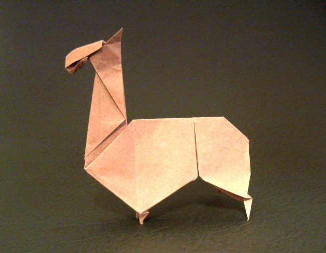 Kunihiko Kasahara 144 Square Origami Llama By Folded From A Of Thin Wrapping Paper Gilad Aharoni