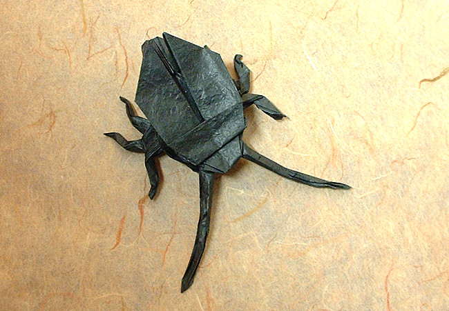 Origami Long-horned beetle by John Montroll folded by Gilad Aharoni